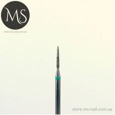 Алмазная насадка цилиндрическая стрельчатый конец 1.0 мм. зеленая